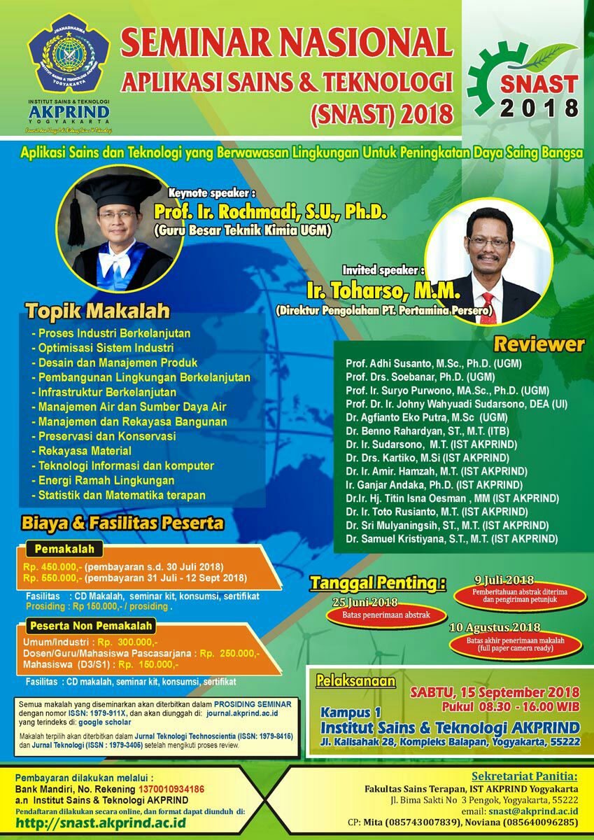 SEMINAR NASIONAL APLIKASI SAINS & TEKNOLOGI (SNAST 2018) IST AKPRIND Yogyakarta
