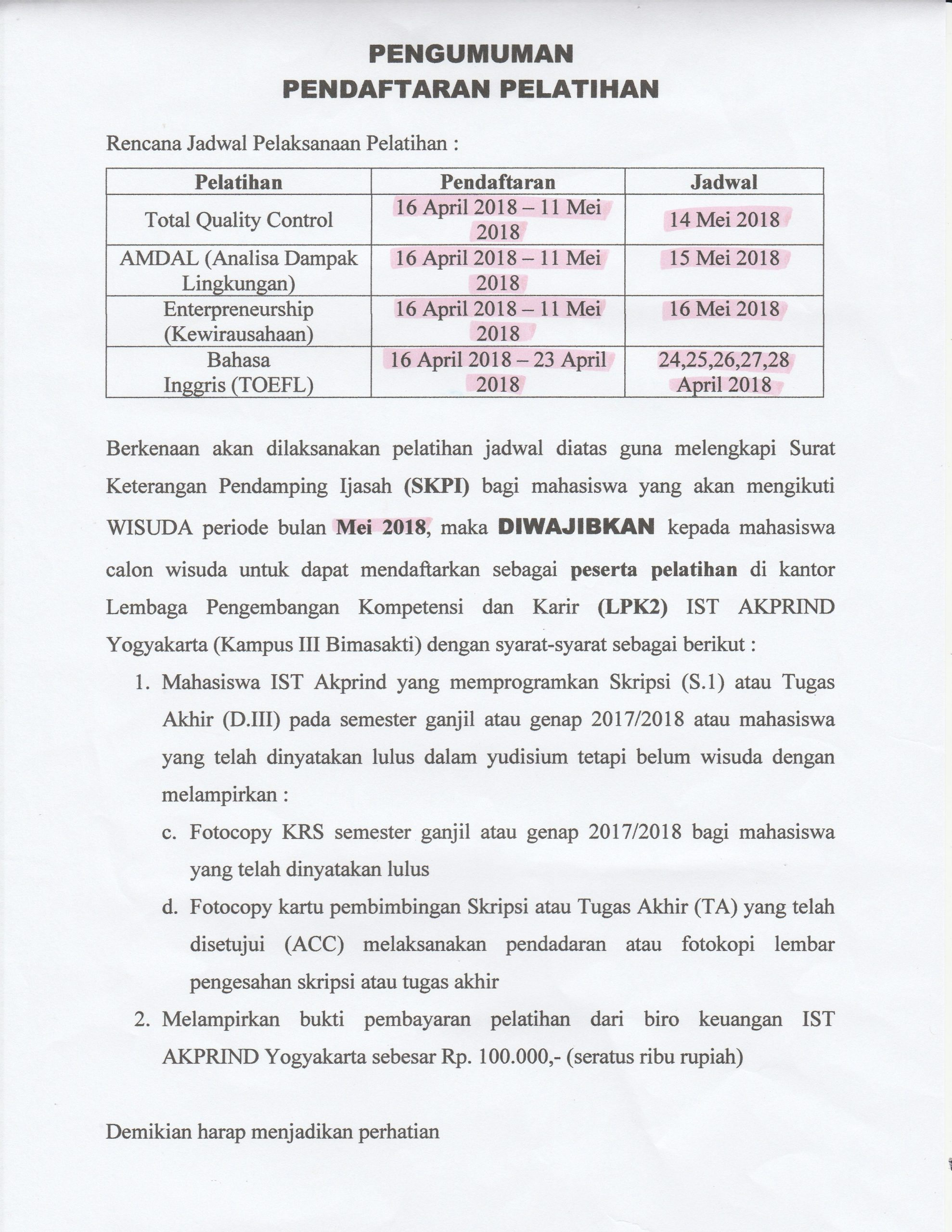 Pendaftaran Pelatihan SKPI Wisuda Mei 2018