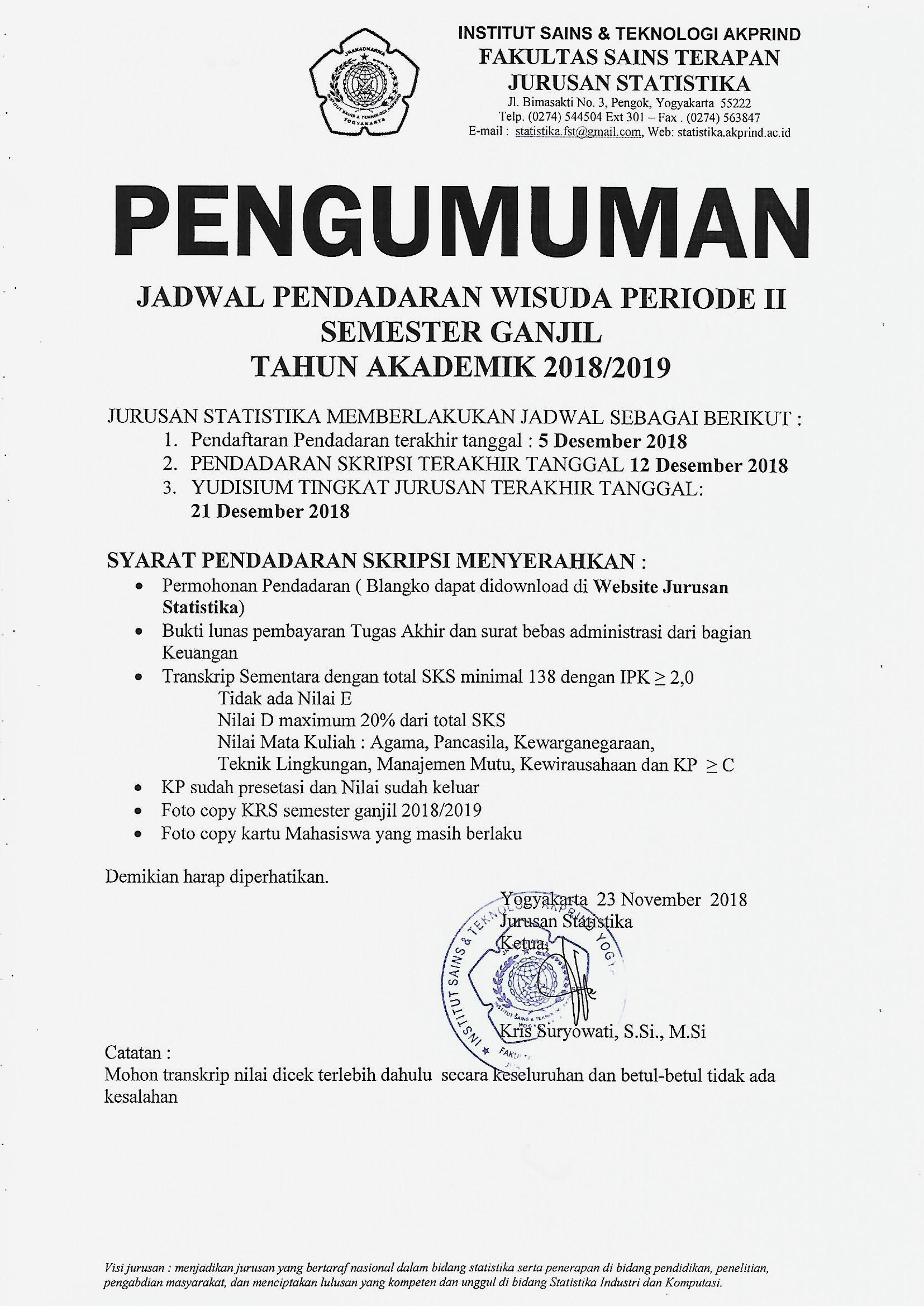 PENGUMUMAN JADWAL PENDADARAN WISUDA PERIODE II SEMESTER GANJIL TA. 2018 / 2019