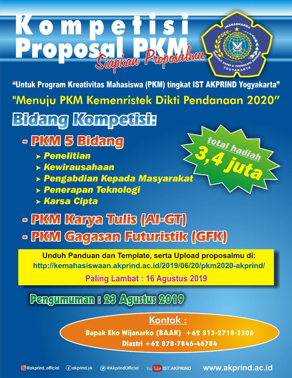Kompetisi Program Kreatifitas Mahasiswa (PKM) 2020 Institut Sains & Teknologi Akprind