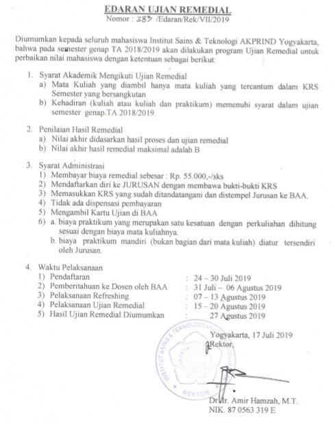 PENGUMUMAN REMIDI SEMESTER GENAP TA. 2018/2019