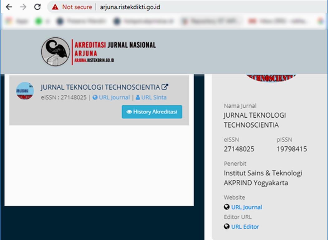 Jurnal Teknologi Technoscientia Terakreditasi Jurnal Nasional Arjuna