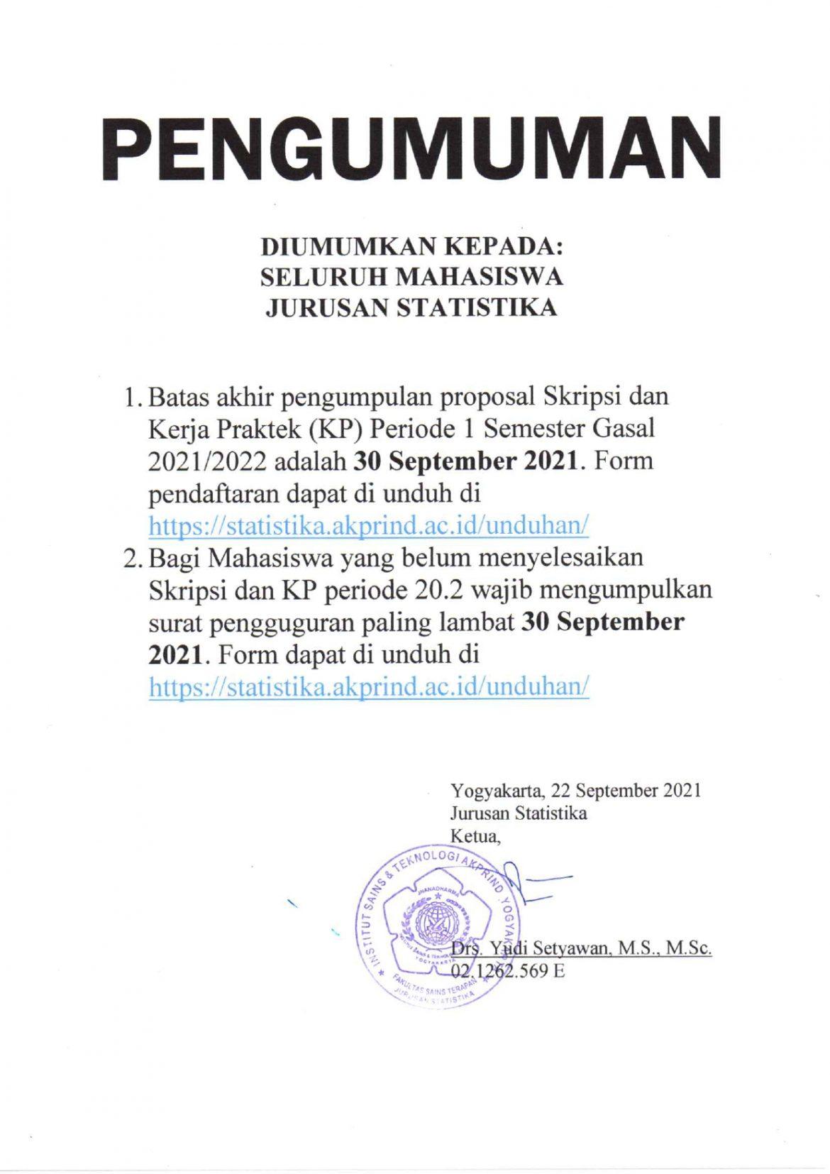 Pengumuman Pendaftaran dan Pengguguran Skripsi