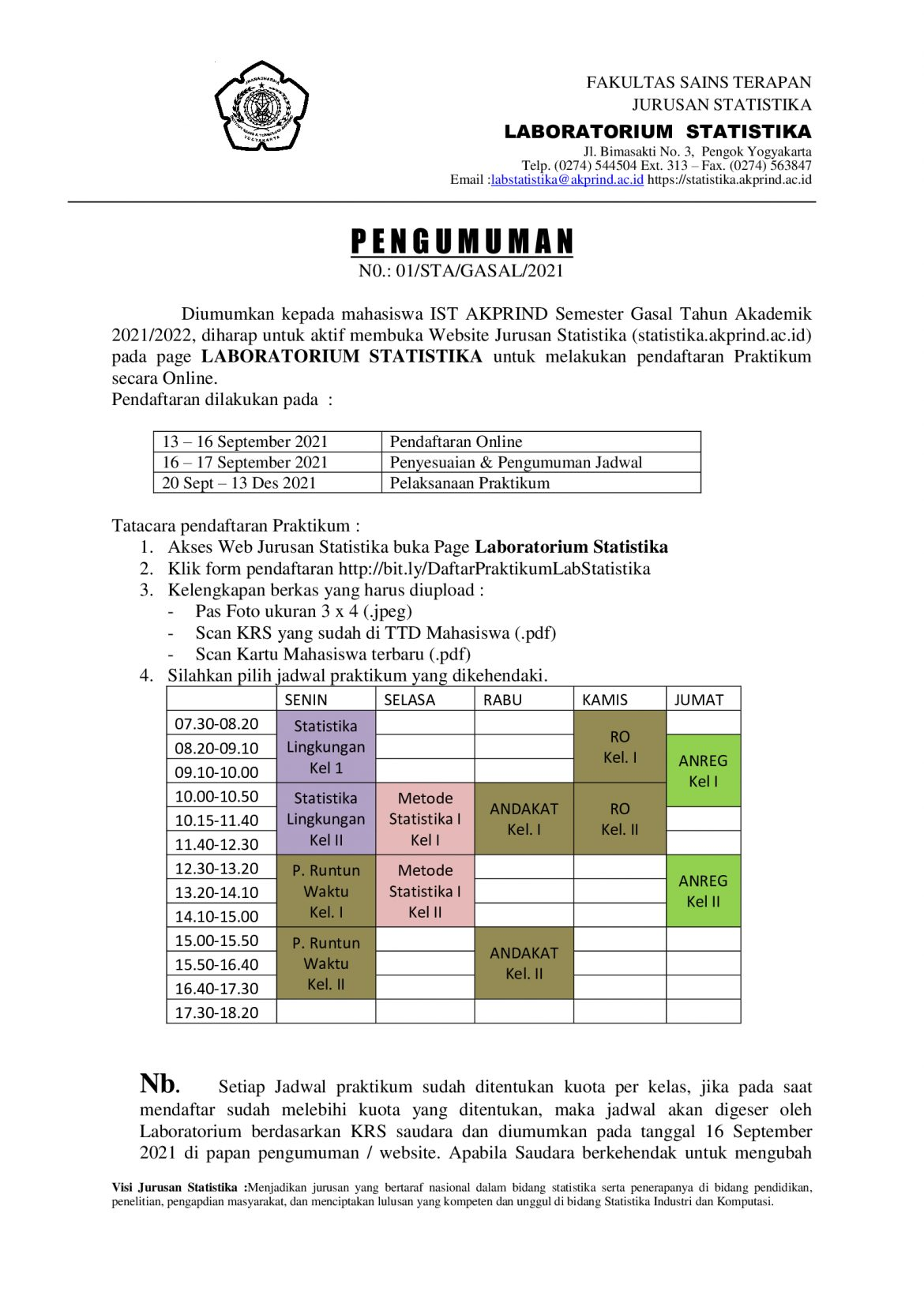 Pendaftaran Praktikum Semester Gasal 2021/2022